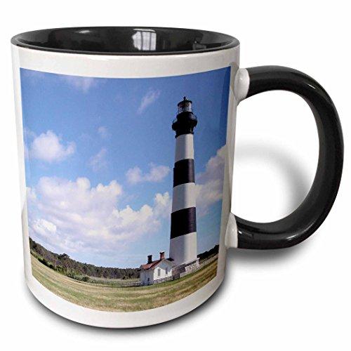 (3dRose Danita Delimont - Lighthouses - NC, Bodie Island Lighthouse Keepers Quarters - US34 LSE0014 - Lynn Seldon - 11oz Two-Tone Black Mug (mug_93273_4))
