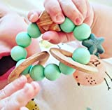 NIBBLING Natural Wood Rattle Rings TEETHER (Mint) | Perfect for Boys & Girls | Highly Recommended for Baby Shower Gifts |Best Toddler Teething Toy