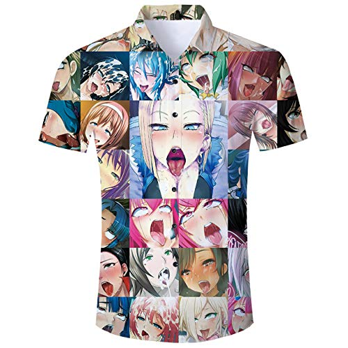 Fromdream Anime Shirts Mens Ahegao Otaku Button Dress Tshirt 3D Fun Hawaiian Tropical Blouse Beachwear Summer Tops XL ()