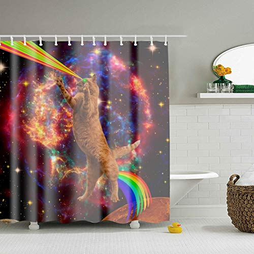 32887a9fda8c JIANLONG 70x70 Inches Inches Fabric Shower Curtain Set, Waterproof Bathroom  Curtain Set, Space Cat Mildew Resistant Shower Curtains,Equipped with ...