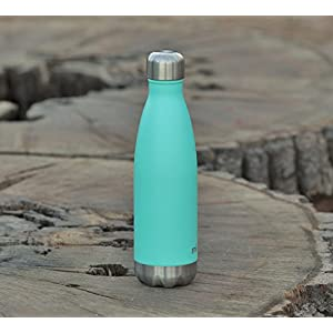 MIRA 17 Oz Stainless Steel Vacuum Insulated Water Bottle | Leak-proof Double Walled Powder Coated Cola Shape Bottle | Keeps Drinks Cold for 24 hours & Hot for 12 hours | 500 ml Teal