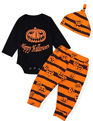 Baby Boy Girl Clothes Big Pumpkin Romper Top,Striped Pant + Cute Hat Halloween Outfit Set (3-6 Months)