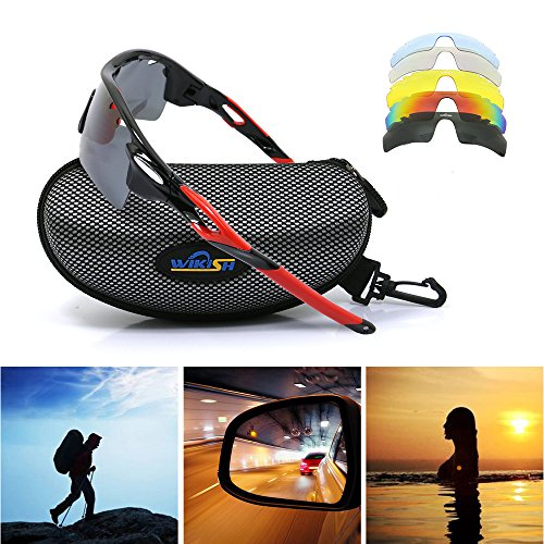 Polarized Sports Sunglasses with 5 Interchangeable Lenses UV400 Protection Mens Women Sunglasses for Cycling Running Ski Driving Golf, Fit for Summer Winter Cloudy - Ski Ladies Sunglasses