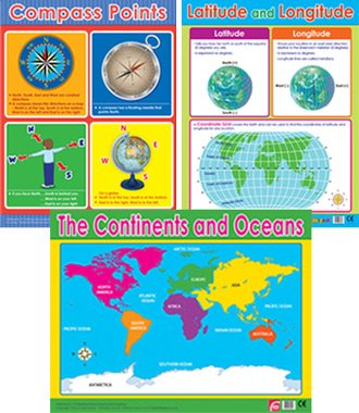 geografia poster set: Compass points, Lattitude e longitudine, Continents Earth Map Learning Charts per scuole e Home Learning 123 Publishing House