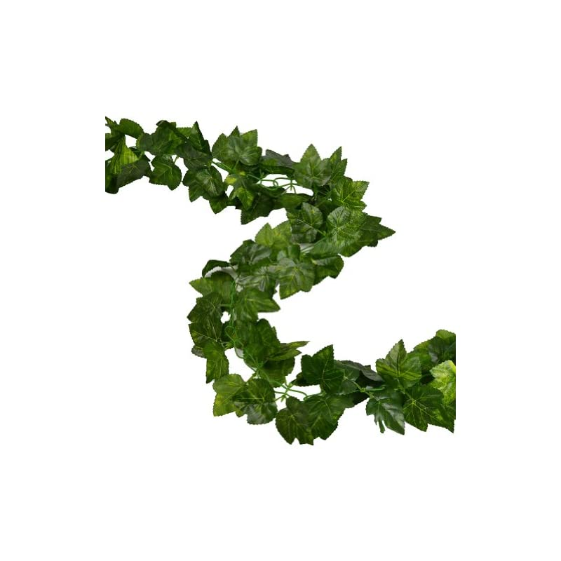 silk flower arrangements rurality total 16 feet - 2 artificial ivy garland fake grape leaf vines decoration for wedding,party,table,cabinet