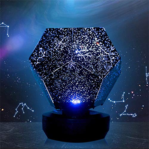 m·kvfa 3 Colors Rotating Projector Night Lights Rotating Play Night Light Starry Sky Projection Lamp Stars Romantic Starlight Suitable for Bedroom Courtyard Nursery Children Birthdays Party ()