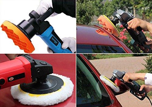 Drill Buffer, Mothers Mag and Aluminum Polish, Car polishing Wax Buffing Polishing Pad Kits-7PCS 4 inch Sponge and Woolen Polishing Pads by 9 MOON (Image #6)