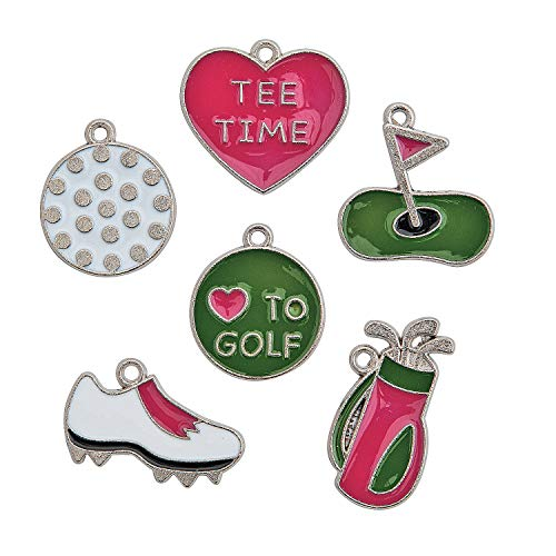 Golf Shoe Charm - Fun Express Golf Charms Collection Includes Bag, Ball, Shoes and More (Set of 24) Bulk Craft Supplies