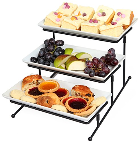 Food Display Server - Kenley 3 Tier Serving Tray Tiered Stand - Three-tiered Cake Cupcake Appetizer Dessert Fruit Finger Food Display Platter Server Plate for Parties - Steady Galvanized Metal Frame Rack