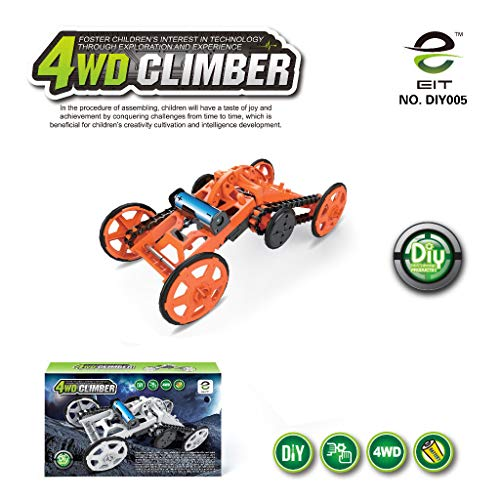 DIY Climbing Vehicle,STEM 4WD Electric Car Toys Mechanical Assembly Kit Real Motors Science Experiments & Circuit Building Projects For Kids Boys Girls Teens (Orange)