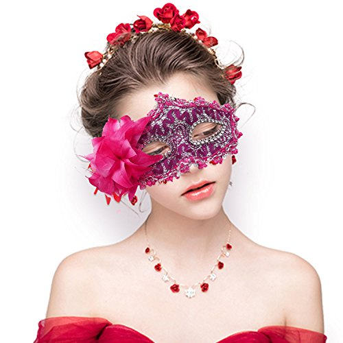 FaceWood Masquerade Mask Mardi Gras Mask for Women Handmade Venetian Party Prom Ball.(Light Red) -