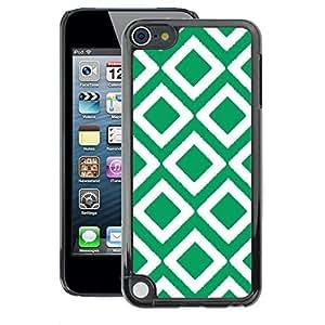 A-type Arte & diseño plástico duro Fundas Cover Cubre Hard Case Cover para Apple iPod Touch 5 (Checkered Vintage Wallpaper Pattern Green)