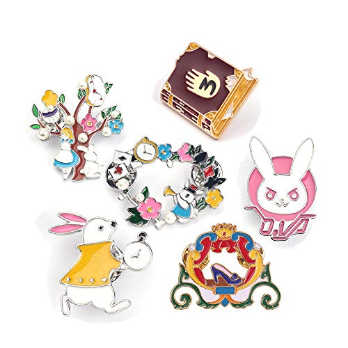 SloveM Fairytale Pin Alice in Wonderland Brooch Enamel Lapel Pins Rabbit Brooch Pumpkin Car Brooch]()