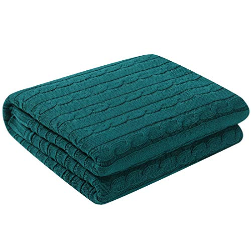 uxcell Cotton Cable Knit Throw Blanket Super Soft Throw Couch Covers Decorative Knitted Blankets for Sofa Bed, Dark Green Throw(47