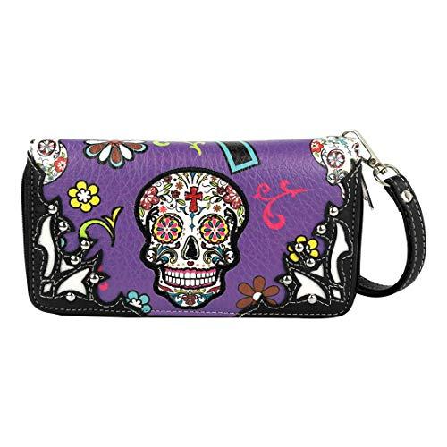 Women's Western Wristlet Wallet PU Leather Wristlet Purse Double Zipper Western Clutch Bag Card Cash Bill Phone