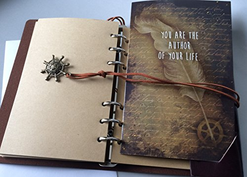 Smiling Wisdom - Journal Gift Set - You Are the Author of Your Life - Special Wisdom for Son Daughter Teen Boy Girl Grandson Granddaughter Grad - Life Journey Wisdom - Replaceable Kraft Paper - Brown -