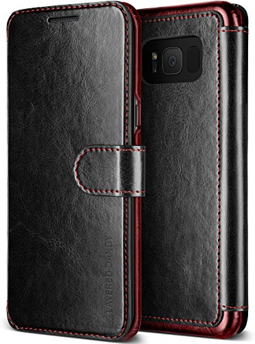 Galaxy S8 Plus Case, Premium PU Leather ID Card Slot Wallet Drop Protection Cover [Wireless Charging Compatible] for Samsung Galaxy S8 Plus (2017) by Lumion (Dandy Wallet - Black) (Premium Leather Case Cover)