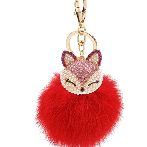 QISHOP Women Rabbit Fur Furry Keychain Car Key Ring Holder Bag Decorations(Cute Fox,red (Cute Graduation Decorations)