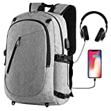 Cafele Laptop Sports Backpack - Durable Outdoor Travel Computer Bag Basketball Backpack with USB Charging Port - Water Resistant College School Bookbag for Women Men - Fits 15.6 inch Laptop & Notebook