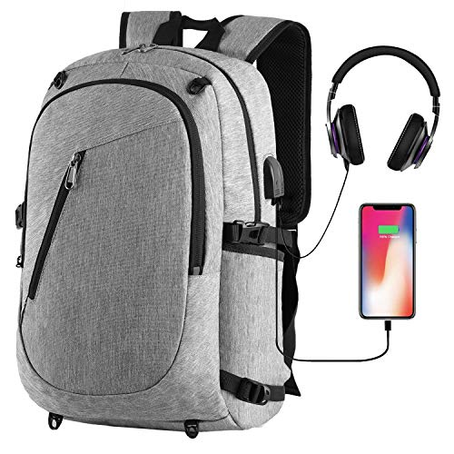 Cafele Laptop Sports Backpack, Durable Outdoor Travel Computer Bag Basketball Backpack with USB Charging Port, Water Resistant College School Bookbag for Women/Men, Fits 15.6 inch Laptop & Notebook