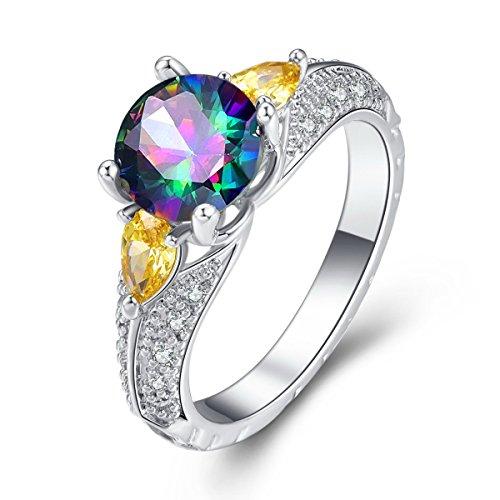 YAZILIND Promise Ring Beautiful White Cubic Zirconia Platinum Plated Rhinestone Wedding Engagement for Women Size (Beautiful Promise Rings)