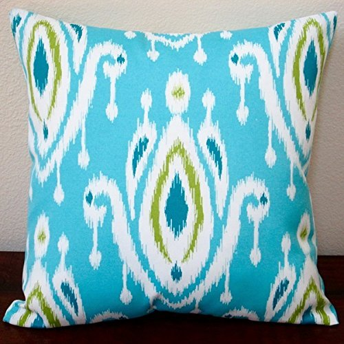 Artisan Pillows Indoor/ Outdoor 18-inch Peacock Turquoise Blue/ Green Modern Geometric Ikat Throw Pillow (Set of 2)