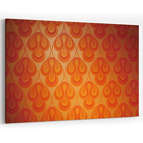 Actorstion Psychedelic Funky Retro 1970s Wallpaper for Modern Home Decor Stretched and Framed Ready to Hang (70s Retro Wallpaper)