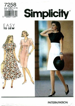 Simplicity 7258 Sewing Pattern Misses Slim or Full Skirt Dress Size 4 - 10 - Bust 29 1/2 - 32 1/2