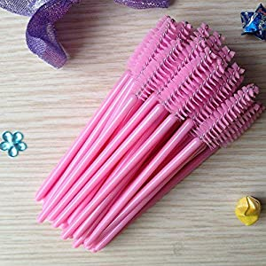 300PCS Disposable Light Pink Eyelash Brushes Mascara Wands Makeup Brush Kit Cosmetic Applicators (50Pcs X 6 Pack) (Color: Pink)