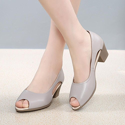 L@YC Girls Women Summer Sandals Leather Soft Bottom Casual Fish Mouth High Heels Large Size Shoes Dress, white, 37