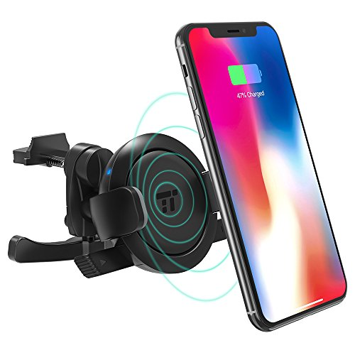 TaoTronics Wireless Car Charger, Vent Phone Holder for Car with Qi Wireless Charging, Car Phone Mount for iPhone X/8 Plus/8, Galaxy S8 Plus/S8/Note8, and All ()