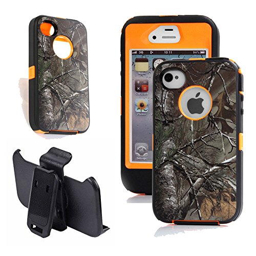 Kecko Heavy Duty Tree Camo High Impact Drop Scratch Resistant Hybrid Builders Military Grade Protective Case Cover with Belt Clip Built-in Screen Protector for iPhone 4s / 4g - - 4s Iphone Case Word
