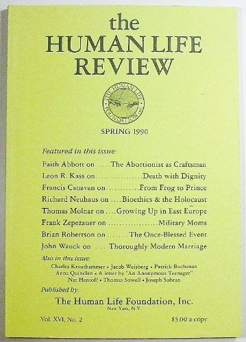 Book cover from The Human Life Review, Volume XVI Number 2, Spring 1990 by J. Bryan Hehir