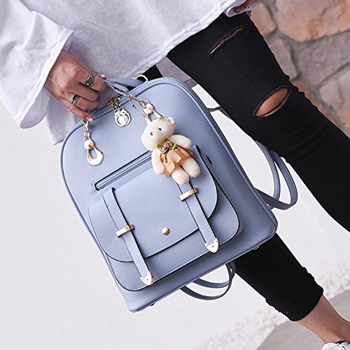 Woman Black Domybest Backpack Black Bag Celeste Blue d5dqWr7