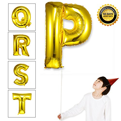 Takefuns 40 Inch Gold Alphabet P Balloon Birthday Party Decorations Helium Foil Mylar Letter Balloon - Easy Unique Homemade Halloween Costumes