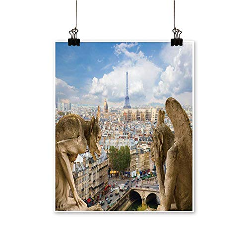 Art Picture Colorful Canvas Print Gargoyle on Notre Dame Cathedral City Paris fr ce Paintings for Living Room,28