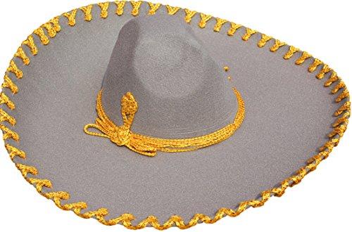 Trade MX Authentic Mariachi Jaripeo Style Premium Mexican Sombrero (Adult Men, Grey/Gold)