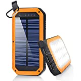 Solar Charger, Dostyle 8000mAh Portable Solar Power Bank External Backup Battery Pack 3 USB Ports Solar Phone charger with 21 LED light for iPhone, iPad, Samsung Galaxy & other Android Smart Devices