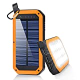 #7: Solar Charger, Dostyle 8000mAh Portable Solar Power Bank External Backup Battery Pack 3 USB Ports Solar Phone charger with 21 LED light for iPhone, iPad, Samsung Galaxy & other Android Smart Devices