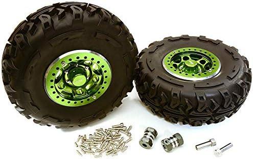 Integy RCモデルhop-ups c27037green 2.2X 1.5-in。高質量合金ホイール、タイヤ& 14m