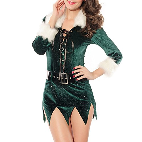 Christmas Costume Green Sequin Elf Dress with Deluxe Swan Feathers (Deluxe Buddy The Elf Costume)