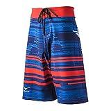 Mizuno Men's Board Shorts, Red/Navy, XX-Small