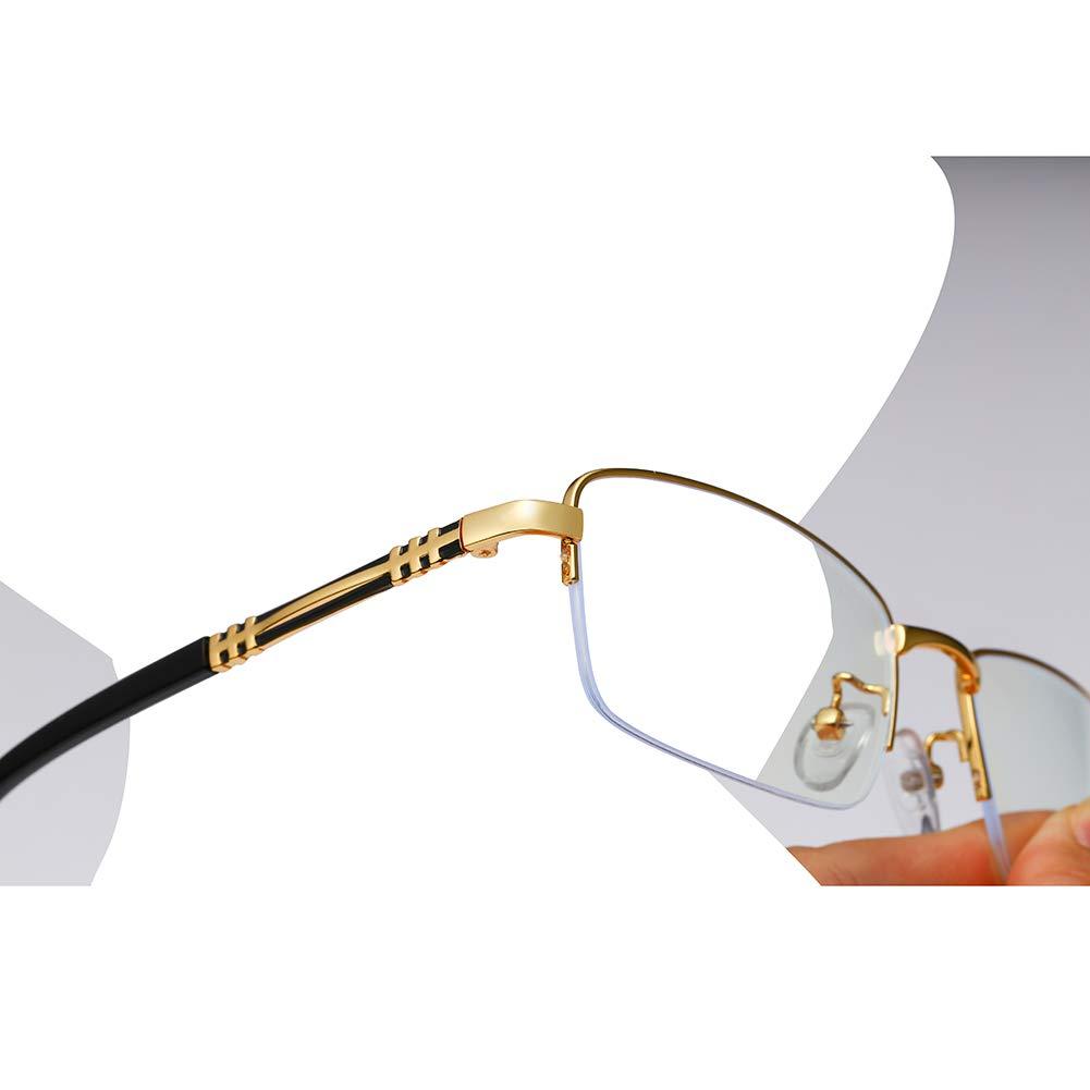 Men Glasses Frame Fashion Gold Rectangle Full Frame Decoration Prescription Glasses