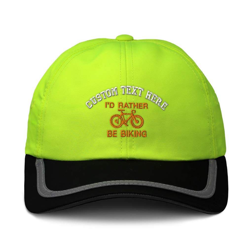 Custom Reflective Running Hat Id Rather Be Biking Embroidery Polyester One Size