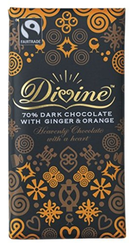 Divine Chocolate Divine 70% Dark With Ginger And Orange Fairtrade Chocolate 100 G (Pack Of 5)