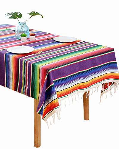 BOXAN Mexican Serape Tablecloth Colorful Cotton Mexican Blanket Table Cloth with Fringe, Mexican Fiesta Tablecloth for Mexican Party Table Decorations, 59 x 84 Inch -