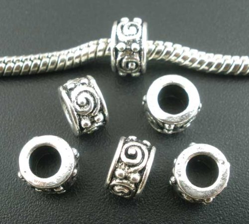 (PEPPERLONELY Brand 50pc Antique Silver Swirl Eyes Carved Pattern Spacer Beads Large Hole Fits Eu...)