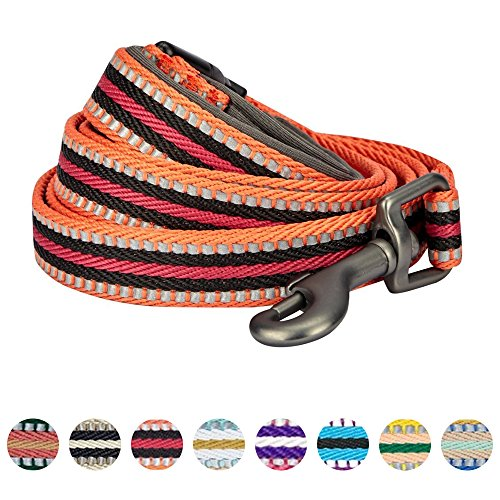 """Blueberry Pet 8 Colors 3M Reflective Multi-colored Stripe Dog Leash with Soft & Comfortable Handle, 5 ft x 5/8"""", Orange & Black, Small, Leashes for Dogs"""