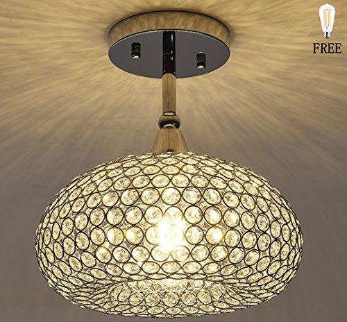 SHUPREGU Lighting, 1 Light Chrome Finish Flush Mount Light Fixture, Real Crystal Chandelier, Ceiling Light Fixture Flush Mount. LED Bulb Free (Chrome Fixture Ceiling)