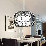Quietness @ Modern LED Chandelier Creative Industries Loft Hanging Lamp For Dining Room Bedroom Living Room Warehouse Black light frame 7w light bulb +led [yellow light]